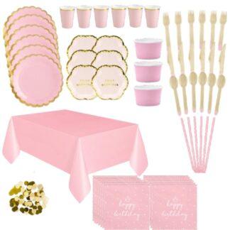 Tafelversiering roze-goud 1ste verjaardag