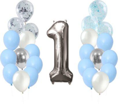 ballonversiering - thema 1 jaar blauw zilver ballonnen versiering