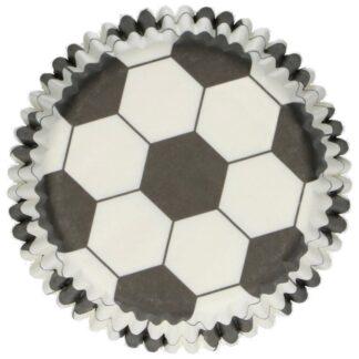 Papieren cupcake vormpjes voetbal