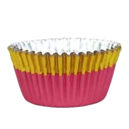 Folie cupcake vormpjes goud-roze