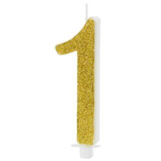 gouden kaars nummer 1 verjaardag taart