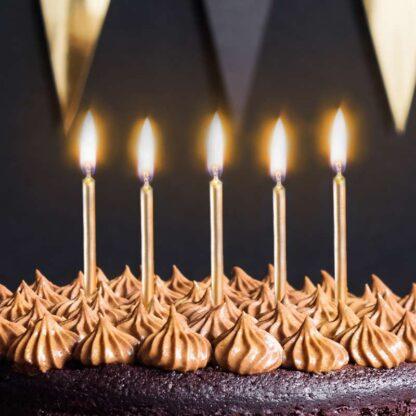 glanzend gouden verjaardagskaarsjes