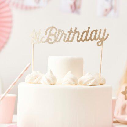 1ste verjaardag gouden taarttopper