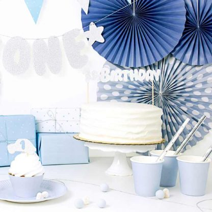 1ste verjaardag zilveren taarttopper
