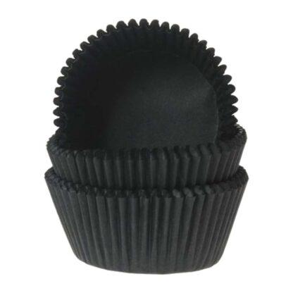 Papieren cupcake vormpjes zwart
