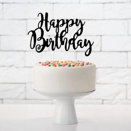 Happy Birthday taarttopper, zwart