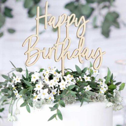 Houten Happy Birthday taarttopper