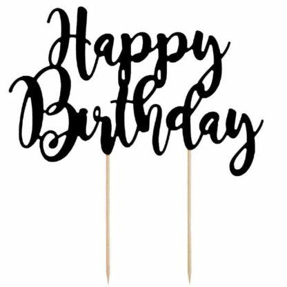 Taarttopper Happy Birthday zwart