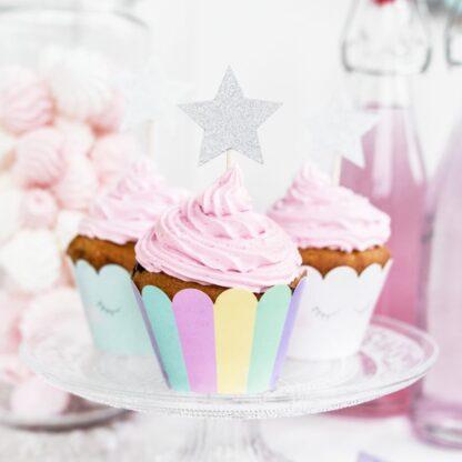 Zilveren ster cupcake prikkers