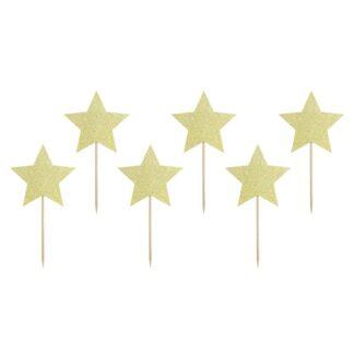 Cupcake prikkers gouden ster