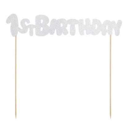 Taarttopper 1st Birthday zilver