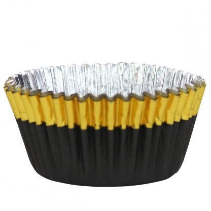 Folie cupcake vormpjes goud-zwart