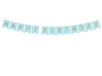 Blauwe Happy Birthday slinger