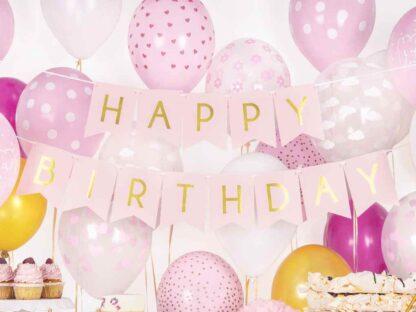 Roze Happy Birthday slinger